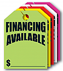 "8 ½"" x 11 ½""  Financing Available Hang Tags"